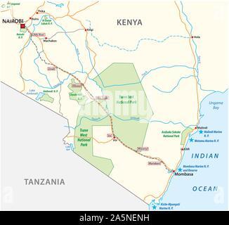 Mombasa Nairobi Railway map in kenya - Stock Photo