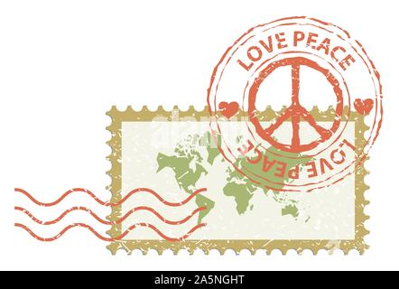 World peace concept, world map in stamp post with peace sign rubber, vintage style - Stock Photo