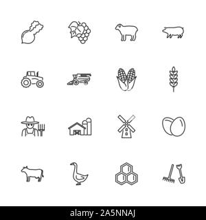 Farming, Agriculture outline icons set - Black symbol on white background. Farming, Agriculture Simple Illustration Symbol - lined simplicity Sign. Fl - Stock Photo