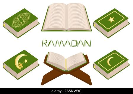 Illustration on theme set different types books, prayer to celebration holiday Ramadan. Book pattern consisting of religious prayer collection Ramadan - Stock Photo