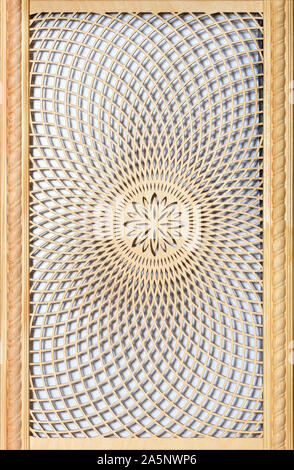 Wooden curly panel with patternwith oriental delicate patternfor wall decoration. - Stock Photo