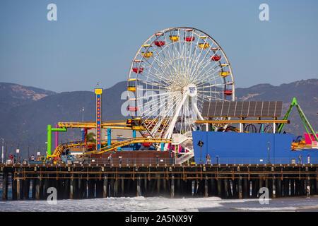 Ferris wheel at Pacific Park on Santa Monica pier, California, United States of America. USA. October 2019 - Stock Photo