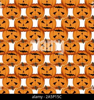 Illustration on theme big colored pattern Halloween, seamless orange pumpkin. Seamless pattern consisting of collection pumpkin, accessory at Hallowee - Stock Photo