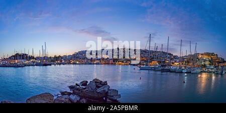 Panoramic view of Mikrolimano along the marina in Piraeus, Greece. - Stock Photo