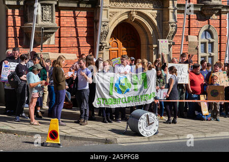 Climate change protestors outside Tynwald Manx Parliament buildings in Douglas, Isle of Man - Stock Photo