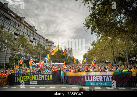 Barcelona. General Strike demonstration .October 18,2019 - Stock Photo