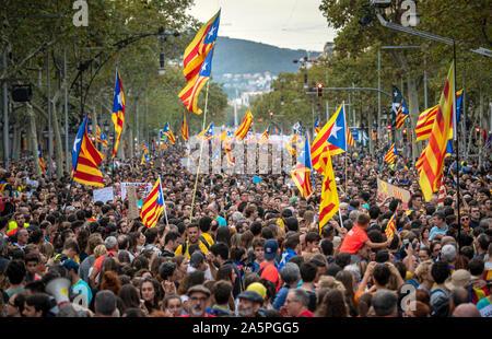 Barcelona. General Strike demonstration .October 18,2019 - Stock Photo