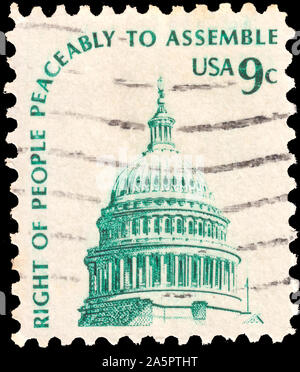 United States of America - CIRCA 1975: A greeting stamp printed in USA shows Dome of Capitol, in-script Right of people peaceably to assemble. circa 1 - Stock Photo