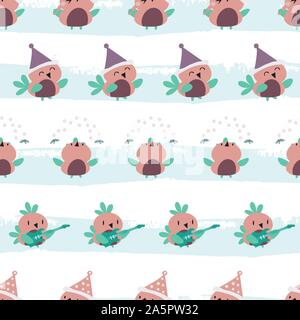 Cute cartoon robins in purple, pink and teal having fun dancing, singing and playing guitar. Seamless vector pattern on grunge effect striped ice blue - Stock Photo
