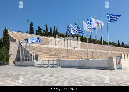 Panathenaic or Kallimarmaro Roman Stadium of the first  Olympics Games in Athens, Greece. - Stock Photo