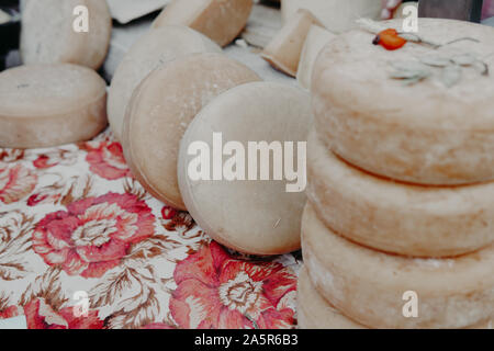 lots of different fresh cheese background food - Stock Photo