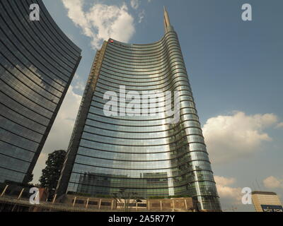 Milan, Italy: 5 August 2019: New modern building in Porta nuova district of Milan, Lombardy, Italy - Stock Photo