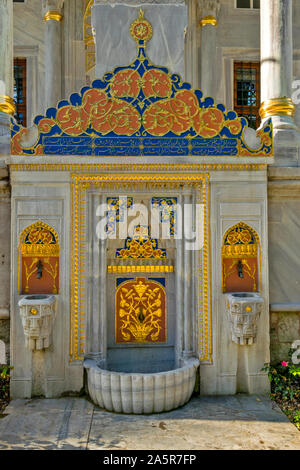 TOPKAPI PALACE TURKEY  THE AVLU COURTYARD DECORATED FOUNTAIN AND WATER TAPS OUTSIDE THE ENDERUN LIBRARY BUILDING