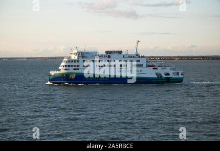 Victoria of Wight the first hybrid energy ferry in England on the Solent a stretch of water between Portsmouth, Isle of Wight, UK - Stock Photo