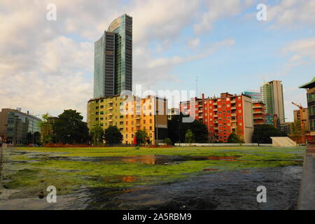 Milan, Italy: 22 June 2019: Porta nuova district in new modern area in Milano, Lombardy, Italy. - Stock Photo