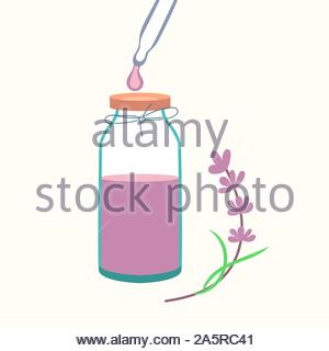 Lavender essential oil with pipette. Cosmetic procedure aromatherapy. Vector - Stock Photo