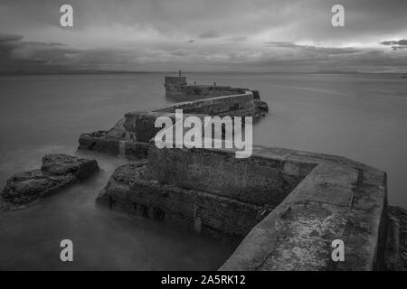 Black and white of St Monans zigzag pier in Fife, Scotland - Stock Photo