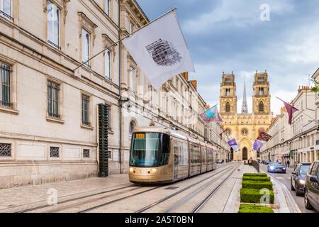 Orleans, France, October 10, 2019: Orelans center and Royal cathedral of the Holy Cross during the evening. - Stock Photo