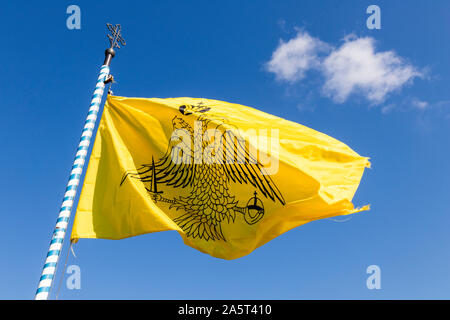 Meteora, Greece. Flag of the Greek Orthodox Church in the Monastery of Roussanou - Stock Photo