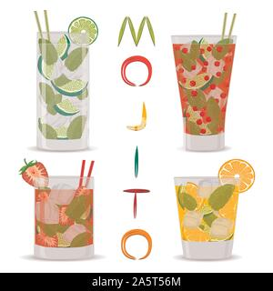 Vector icon illustration logo for alcohol cocktails mojito. Mojito pattern consisting of full glass cup with transparent cocktail, cubes of ice. Cockt - Stock Photo