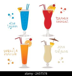 Vector illustration for set alcohol cocktails blue lagoon, zombie, pina colada, tequila sunrise. Full glass cup with cocktail, slice fruits. Cocktail - Stock Photo