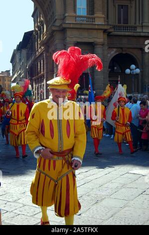 View of a smiling player wearing traditional costume, taking part in a parade for the Calcio Storico football tournament in Florence, Italy, June 2011 - Stock Photo
