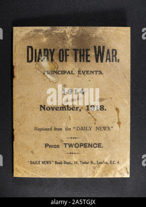 A 'Diary of the War' booklet made by the Daily News indicating key dates throughout World War One, a piece of replica memorabilia from the WWI era. - Stock Photo