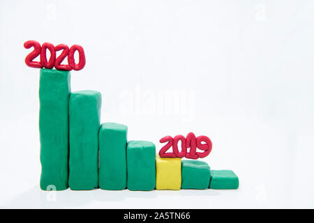 Growing business concept. Graph of success in 2020 year. Graph Bars made from Play Clay. - Stock Photo