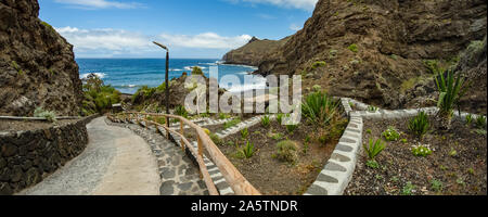 Playa De Caleta the north-eastern part of La Gomera island. Favorite vacation spot of local residents of Hermigua and Santa Catalina as well as touris - Stock Photo