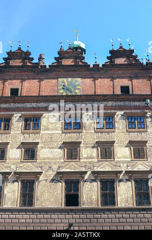 Pilsen, Czech Republic - June 25, 2019: The Rennaisance Town Hall on the main square in Plzen, Western Bohemia. The seat of the city council. Front side facade. The fourth-largest city in Czechia. - Stock Photo