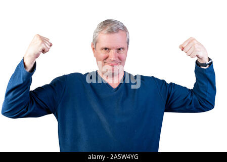 Elderly man shows strength. Isolated on a white background. - Stock Photo