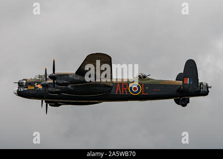 The Royal Air Force Lancaster bomber (PA474) of the Battle of Britain Memorial Flight in level flight at RIAT 2019, RAF Fairford, UK on 21/7/19. - Stock Photo