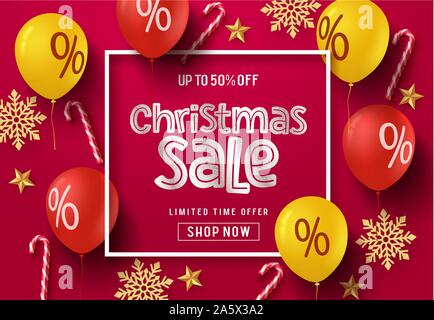 Christmas sale balloon vector banner background. Christmas sale text in frame with colorful elements of balloons, candy cane, snowflakes and stars. - Stock Photo