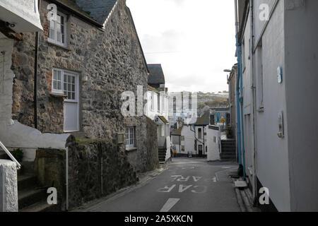 Narrow street in St Ives, Cornwall,UK - Stock Photo