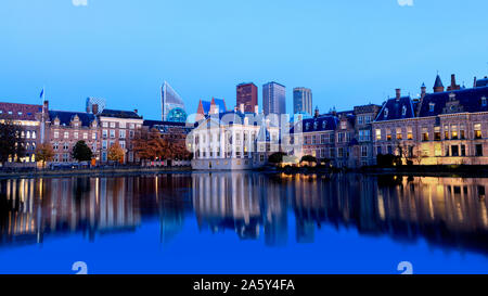 Skyline Of The Hague Den Haag with the buildings of the Binnenhof Palace, Mauritshuis Museum and modern office towers. - Stock Photo
