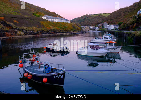 The harbour at Boscastle Cornwall Plymouth England at twilight - Stock Photo