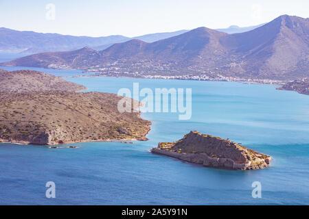 Spinalonga Island, panoramic view. Crete, Greece. - Stock Photo