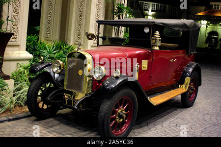 United kingdom automobile Austin 7 1920 model vintage classic red colour car. - Stock Photo