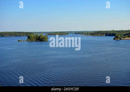 Landscape to lake Saimaa from Luukkaansalmi bridge in Lappeenranta, Finland. - Stock Photo