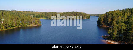 Scenic view to lake Saimaa from Toijansalmi bridge, Taipalsaari, Finland. Panorama view. - Stock Photo