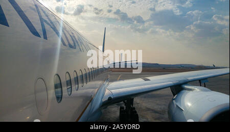 Riyadh/Saudi Arabia - March 01 Planes preparing for take off at Riyadh King Khalid Airport on March 01, 2018 in Riyadh, Saudi Arabia. Riyadh airport i - Stock Photo