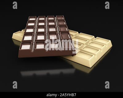 3d rendering of dark and white chocolate bars isolated on black. - Stock Photo