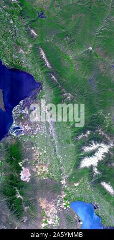 The 2002 Winter Olympics, hosted by Salt Lake City. View of north central Utah that includes all of the Olympic sites. May 28, 2000. Satellite image. - Stock Photo