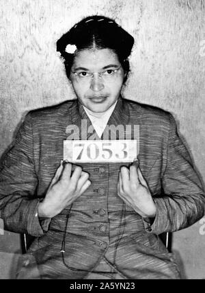 Rosa Parks Mug Shot 1955. Arrested for refusing to relinquish her seat on a bus in Montgomery, Alabama.
