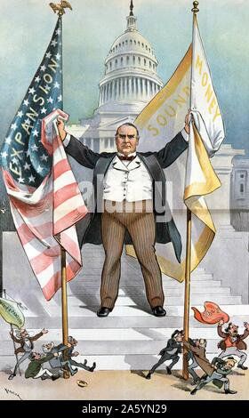 The Pigmies attack; but Government Still Lives 1900. President William McKinley on the steps of the U.S Capitol, holding two flags, Expansion and Sound Money. - Stock Photo