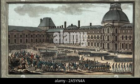 Napoleonic depicting troop review 1810 - Stock Photo