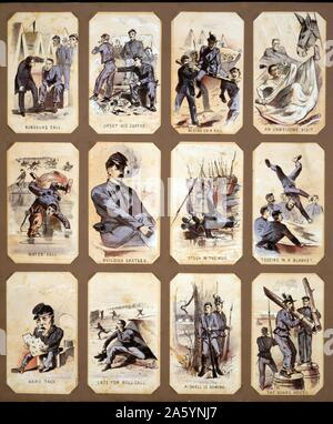 Life in camp, part 1 by Winslow Homer, 1836-1910, American artist. 1864. chromolithograph souvenir cards showing the daily life of Union soldiers during the Civil War - Stock Photo