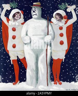 Christmas Puck by artist William Ely Hill (1887-1962). Illustration shows an anxious snowman standing between two beautiful young women wearing clown costumes and holding mistletoe over their heads during an evening snow shower. by Keppler & Schwarzmann in December, 1913. - Stock Photo