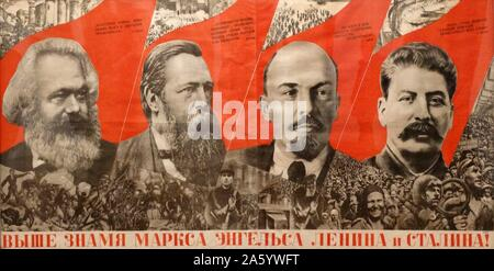 Marx, Engels, Lenin, Stalin flag more high! ' Soviet Russian, Communist, propaganda poster1933, lithograph on paper - Stock Photo