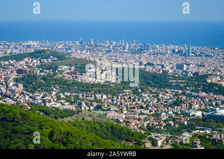 A view of Park Guell viewed from Tibidabo in Barcelona, Spain - Stock Photo
